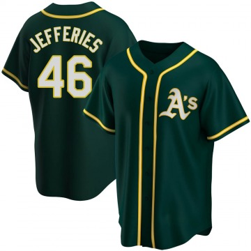 Replica Daulton Jefferies Youth Oakland Athletics Green Alternate Jersey